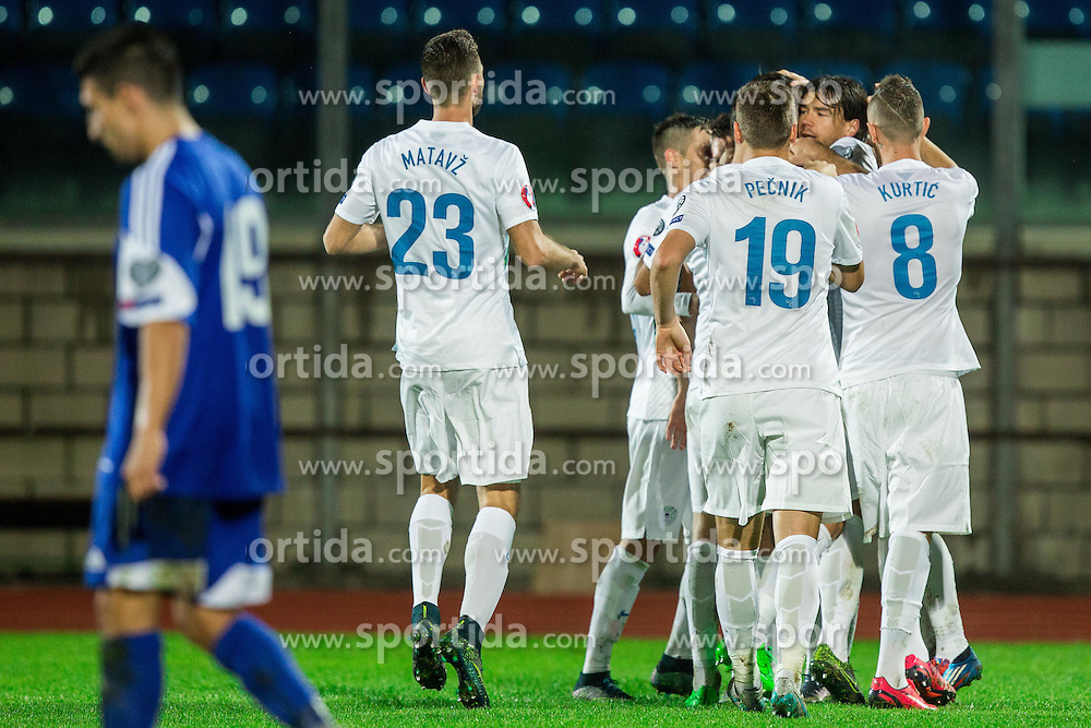 Players of Slovenia celebrate after Bostjan Cesar of Slovenia scored first goal during football match between National teams of San Marino and Slovenia in Group E of EURO 2016 Qualifications, on October 12, 2015 in Stadio Olimpico Serravalle, Republic of San Marino. Photo by Vid Ponikvar / Sportida