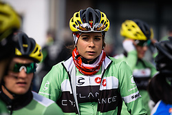 Sheyla Gutierrez checks out the competiton at sign in - Pajot Hills Classic 2016, a 122km road race starting and finishing in Gooik, on March 30th, 2016 in Vlaams Brabant, Belgium.