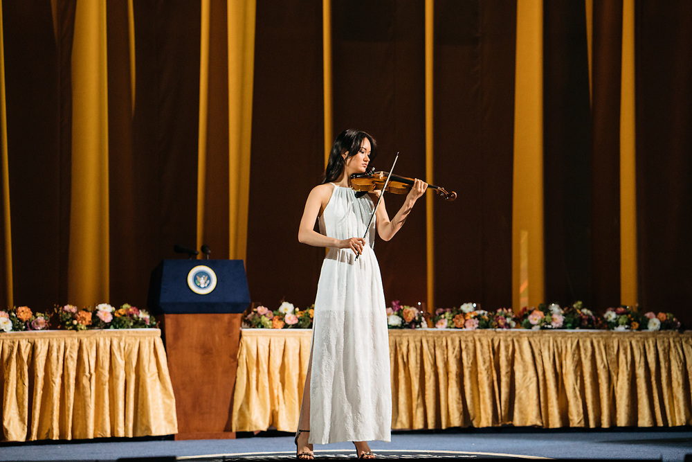 A violinist performs during rehearsals for Full Frontal with Samantha Bee's Not the White House Correspondents' Dinner at D.A.R. Constitution Hall in Washington D.C. on April 28, 2017.