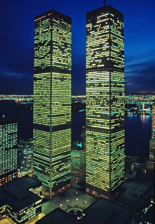 Twin Towers Of The World Trade Center At Twilight