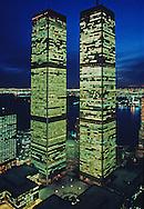 Twin Towers of the World Trade Center at Twilight,  designed by Minoru Yamasaki, Manhattan, New York City, New York, USA
