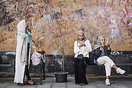 Hijabistas. Friends and fashion enthusiasts  Shama Vafaipour, Imane Asry and Maryam Dinar are preparing to take some Instagram images at Söder in Stockholm.