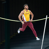 Minnesota's Luca Wieland fails to clear the bar while competing in the pole vault during the men's decathlon on the second day of the NCAA outdoors college track and field championships in Eugene, Ore., Thursday, June 8, 2017. (AP Photo/Timothy J. Gonzalez)