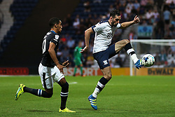 Greg Cunningham of Preston North End controls the ball under pressure from Tom Ince of Derby County  - Mandatory by-line: Matt McNulty/JMP - 16/08/2016 - FOOTBALL - Deepdale - Preston, England - Preston North End v Derby County - Sky Bet Championship