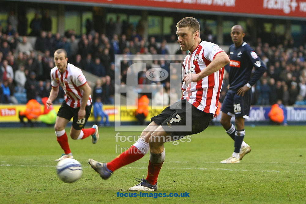 Picture by Paul Chesterton/Focus Images Ltd.  07904 640267.17/03/12.Rickie Lambert of Southampton scores what turns out to be the winning goal from the penalty spot which also completes his hat trick and celebrates during the Npower Championship match at The New Den Stadium, London.