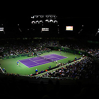 A general overview of the court during a match between Novak Djokovic, of Serbia, and Martin Klizan, of Slovakia,during the Miami Open tennis tournament on Saturday, March 28, 2015 in Key Biscayne, Florida. Djokovic defeated Klizan 6-0, 5-7, 6-1(AP Photo/Alex Menendez)