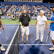 August 25, 2016, New Haven, Connecticut: <br /> A coin toss with John McEnroe and James Blake during the Men's Legends Event on Day 7 of the 2016 Connecticut Open at the Yale University Tennis Center on Thursday, August  25, 2016 in New Haven, Connecticut. <br /> (Photo by Billie Weiss/Connecticut Open)