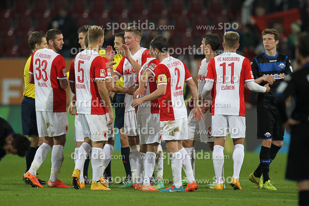 08.11.2014, SGL Arena, Augsburg, GER, 1. FBL, FC Augsburg vs SC Paderborn 07, 11. Runde, im Bild Schlussjubel von der Mannschaft des FC Augsburg // during the German Bundesliga 11th round match between FC Augsburg and SC Paderborn 07 at the SGL Arena in Augsburg, Germany on 2014/11/08. EXPA Pictures &copy; 2014, PhotoCredit: EXPA/ Eibner-Pressefoto/ Kolbert<br /> <br /> *****ATTENTION - OUT of GER*****