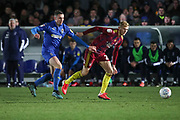 AFC Wimbledon midfielder Anthony Hartigan (8) battles for possession during the EFL Sky Bet League 1 match between AFC Wimbledon and Ipswich Town at the Cherry Red Records Stadium, Kingston, England on 11 February 2020.