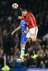 Chris Smalling of Manchester United and Diego Costa of Chelsea head the ball - Mandatory by-line: Jason Brown/JMP - 13/03/2017 - FOOTBALL - Stamford Bridge - London, England - Chelsea v Manchester United - Emirates FA Cup Quarter Final