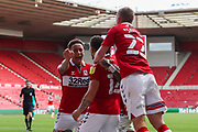 GOAL 1-1 Middlesbrough midfielder Marcus Browne (12) celebrates after scoring his team's first goal during the EFL Sky Bet Championship match between Middlesbrough and Bournemouth at the Riverside Stadium, Middlesbrough, England on 19 September 2020.