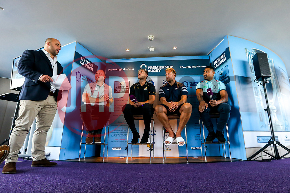 David Flatman hosts the launch of the 2018/19 Gallagher Premiership Rugby Season Fixtures with Schalk Burger of Saracens, Josh Bassett of Wasps, Jordan Crane of Bristol Bears and Francis Saili of Harlequins - Mandatory by-line: Robbie Stephenson/JMP - 06/07/2018 - RUGBY - BT Tower - London, England - Gallagher Premiership Rugby Fixture Launch