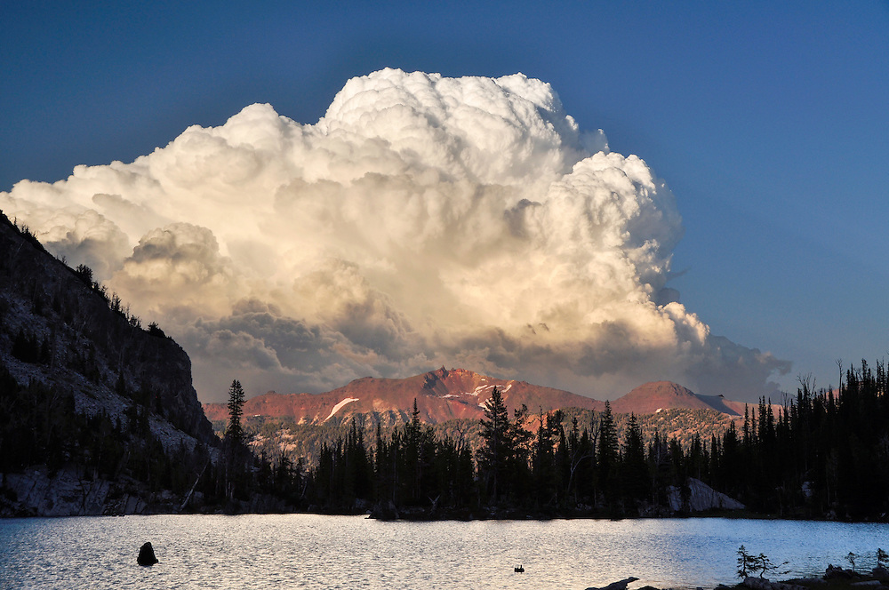 Storm cloud over Chimney Lake in Oregon's Wallowa Mountains.