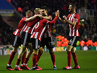 Football - 2019 / 2020 Emirates FA Cup - Fifth Round: Reading vs. Sheffield United<br /> <br /> Sheffield United's Billy Sharp congratulated after scoring his sides winning goal, at the Madejski Stadium.<br /> <br /> COLORSPORT/ASHLEY WESTERN