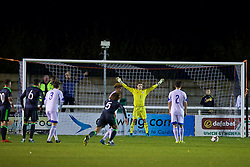 BANGOR, WALES - Tuesday, November 15, 2016: Wales' goalkeeper Feral Hale-Brown is beaten as Luxembourg's Eric Brandenburger scores the second goal, from the penalty spot, during the UEFA European Under-19 Championship Qualifying Round Group 6 match at the Nantporth Stadium. (Pic by David Rawcliffe/Propaganda)