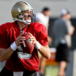 August 6, 2011; Metairie, LA, USA; New Orleans Saints quarterback Drew Brees (9) during training camp practice at the New Orleans Saints practice facility. Mandatory Credit: Derick E. Hingle