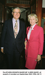 The RT.HON.KENNETH BAKER MP  & MRS BAKER  at a party in London on September 25th 1996.LSI 11