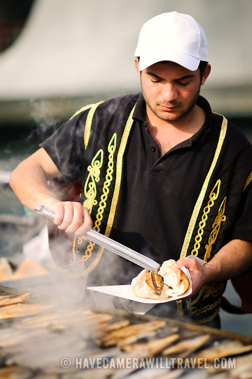 Cooking fish on an open grill for sandwiches on the waterfront of Eminonu in Istanbul near the Galata Bridge spanning the Golden Horn.