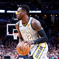 07 March 2018: Cleveland Cavaliers forward Jeff Green (32) drives past Denver Nuggets forward Trey Lyles (7) during the Cleveland Cavaliers 113-108 victory over the Denver Nuggets, at the Pepsi Center, Denver, Colorado, USA.