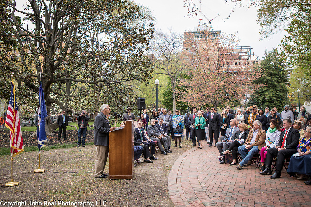Ken Adams, chief of the Upper Mattaponi, speaks during the dedication ceremony for Mantle: Virginia Indian Tribute, a monument designed on Virginia State Capitol Square, in Richmond, Virginia, on Tuesday, April 17, 2018. Michelson, a New York based artist, designed the monument in Capitol Square next to the Bell Tower along North Ninth Street. John Boal Photography