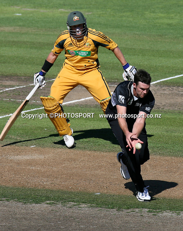James Franklin fields off his bowling.  New Zealand Black Caps v Australia. 1st ODI, Chappell-Hadlee Trophy Series. McLean Park, Napier. Wednesday 03 March 2010  Photo: John Cowpland/PHOTOSPORT