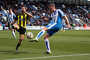 Colchester No 9 Chris Porter goes close in the Sky Bet League 1 match between Colchester United and Burton Albion at the Weston Homes Community Stadium, Colchester, England on 23 April 2016. Photo by Nigel Cole.