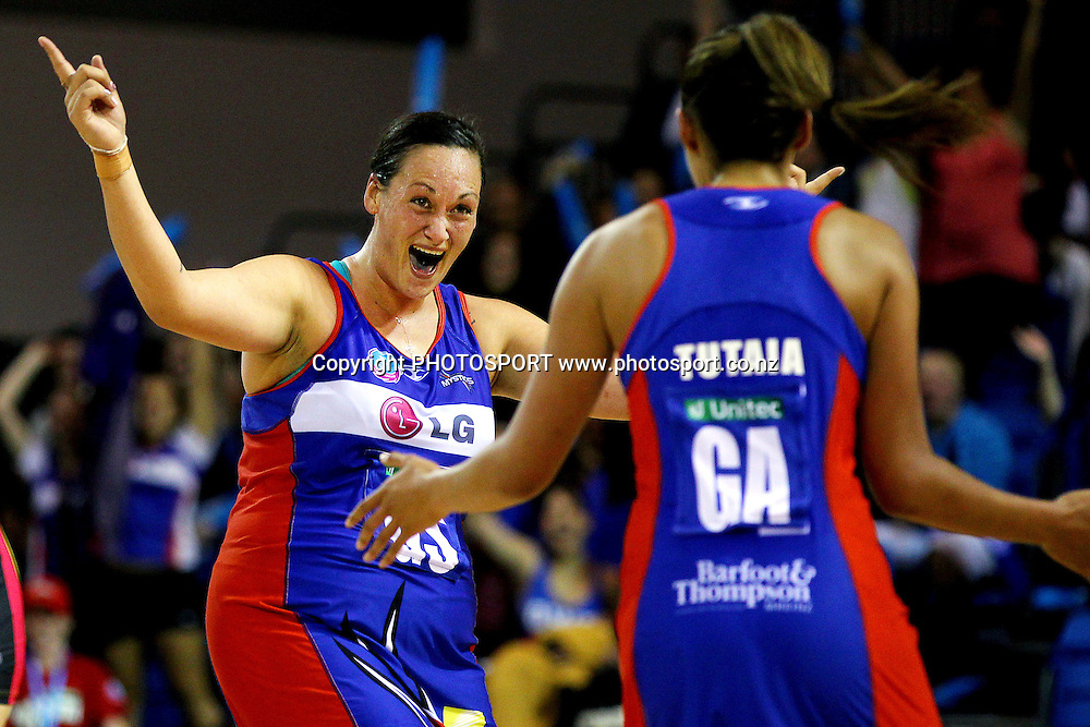 Mystics' Cathrine Latu celebrates the extra time win with Maria Tutaia. ANZ Netball Championship, Northern Mystics v Central Pulse, Trusts Stadium, Auckland, New Zealand. Sunday 21st April 2013. Photo: Anthony Au-Yeung / photosport.co.nz