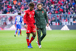 23.02.2019, Allianz Arena, Muenchen, GER, 1. FBL, FC Bayern Muenchen vs Hertha BSC, 23. Runde, im Bild Kingsley Coman (FC Bayern Muenchen) verletzt sich // during the German Bundesliga 23th round match between FC Bayern Muenchen and Hertha BSC at the Allianz Arena in Muenchen, Germany on 2019/02/23. EXPA Pictures &copy; 2019, PhotoCredit: EXPA/ Eibner-Pressefoto/ Tom Weller<br /> <br /> *****ATTENTION - OUT of GER*****