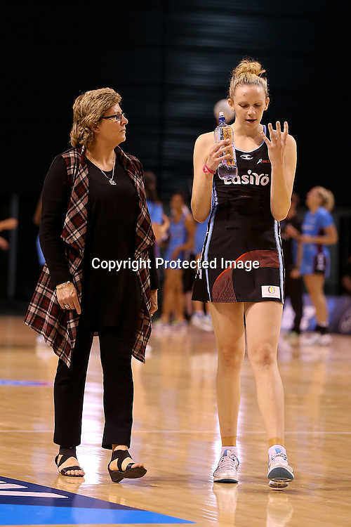 Canterbury Tactix coach Leigh Gibbs talks to Jo Harten after the ANZ Netball Championship, Easiyo Tactix v Southern Steel at CBS Arena, Christchurch, New Zealand. Saturday 30th March 2013. Photo: Martin Hunter/ Photosport.co.nz