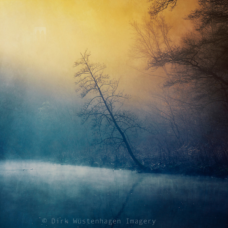 River Wupper near Solingen/ Germany on a misty morning - manipulated photograph.<br />
