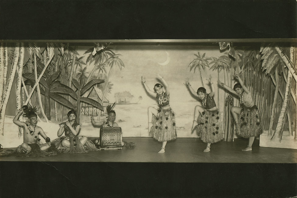 Japan: Hula dance troupe, 1920s (unattributed).<br />