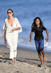 Mel B and Heidi Klum take their kids to the beach after lunch at Nobu sushi in Malibu with Mel B's hairdresser boyfriend Sunday. 01 Oct 2017 Pictured: Heidi Klum and Mel B at the beach in Malibu. Photo credit: GAC/MEGA TheMegaAgency.com +1 888 505 6342