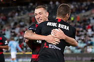 SYDNEY, AUSTRALIA - MARCH 30: Western Sydney Wanderers forward Oriol Riera (9) celebrates his goal with Mitchell Duke (12) at round 23 of the Hyundai A-League Soccer between Western Sydney Wanderers FC and Melbourne City FC on March 30, 2019 at ANZ Stadium in Sydney, Australia. (Photo by Speed Media/Icon Sportswire)