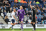 Cody Cropper sent off for MK Dons during the Sky Bet Championship match between Preston North End and Milton Keynes Dons at Deepdale, Preston, England on 16 April 2016. Photo by Pete Burns.