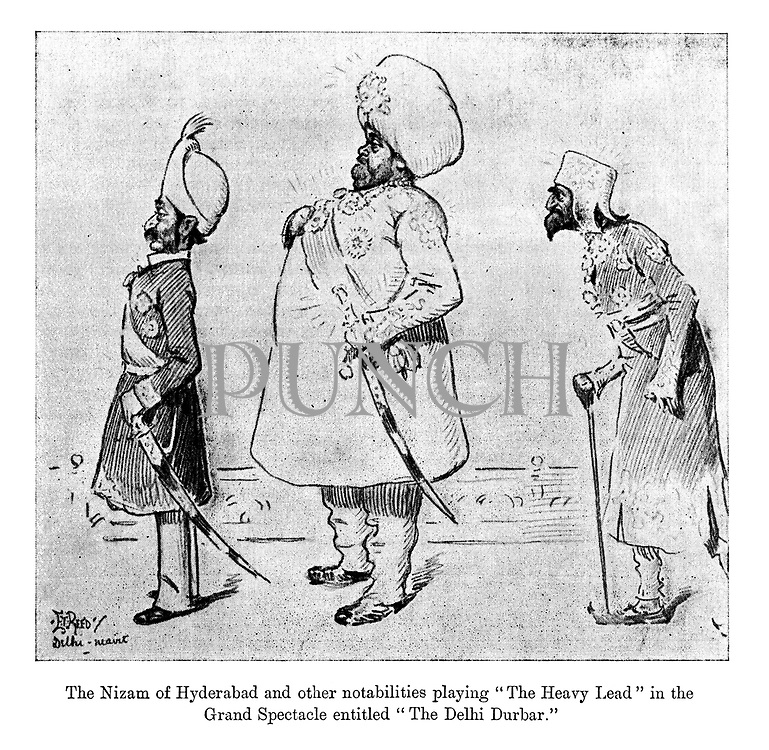 "The Nizam of Hyderabad and other nobilities playing ""The Heavy Lead"" in the grand spectacle entitled ""The Delhi Durbar."""