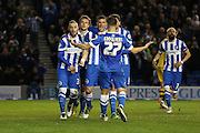 Brighton striker, Tomer Hemed (10) celebrates his penalty goal 1-0 during the Sky Bet Championship match between Brighton and Hove Albion and Fulham at the American Express Community Stadium, Brighton and Hove, England on 15 April 2016. Photo by Phil Duncan.