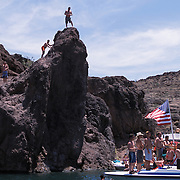 Copper Canyon area of Lake Havasu. Boaters crowd this canyon to party and jump of the large outcroppings.