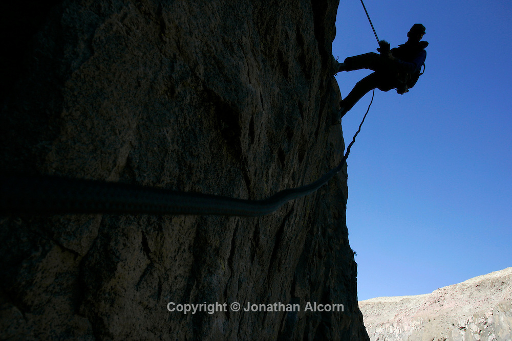 Rock climbing in the Owens River Gorge, a popular destination for rock climbing and natural area in California's Owens Valley.