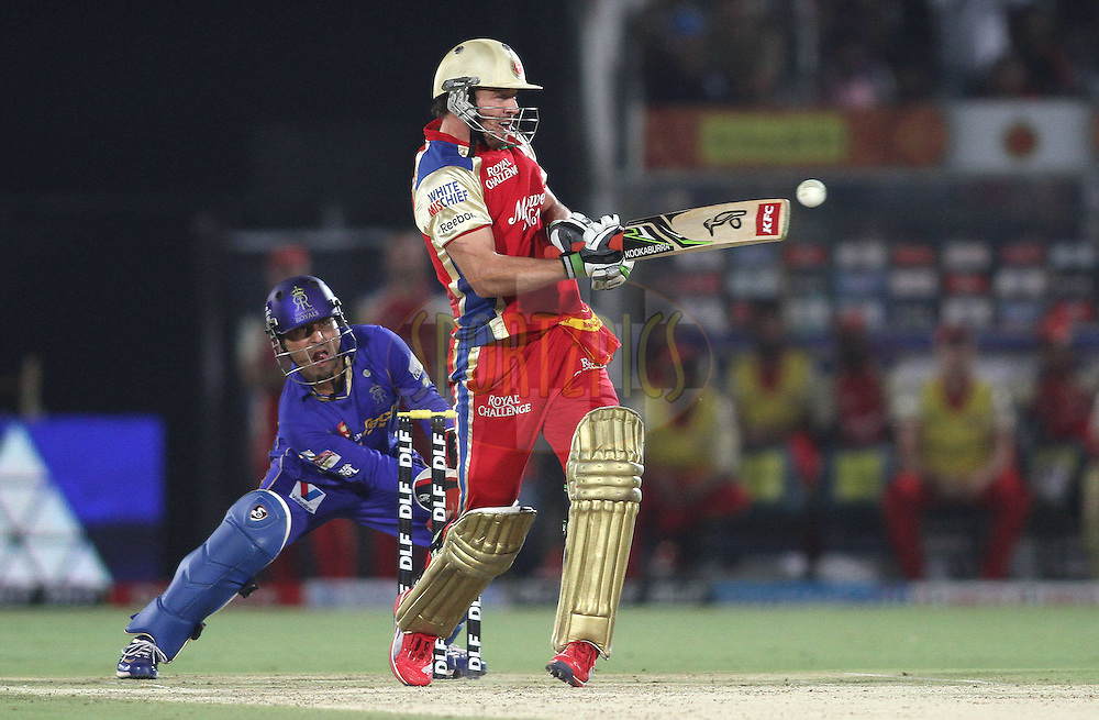 AB de Villiers of the Royal Challengers Bangalore pulls a delivery during match 30 of the the Indian Premier League (IPL) 2012  between The Rajasthan Royals and the Royal Challengers Bangalore held at the Sawai Mansingh Stadium in Jaipur on the 23rd April 2012..Photo by Shaun Roy/IPL/SPORTZPICS