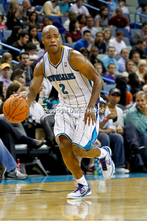 December 21, 2011; New Orleans, LA, USA; New Orleans Hornets point guard Jarrett Jack (2) against the Memphis Grizzlies during a preseason game at the New Orleans Arena.   Mandatory Credit: Derick E. Hingle-US PRESSWIRE