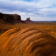 The rock formation known as Sentinel Mesa is seen from the Monument Valley Visitor Center