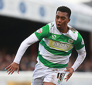 Yeovil Town midfielder Tahvon Campbell during the Sky Bet League 2 match between Dagenham and Redbridge and Yeovil Town at the London Borough of Barking and Dagenham Stadium, London, England on 27 February 2016. Photo by Bennett Dean.