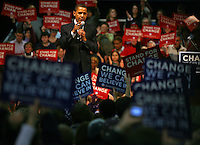 Democratic presidential candidate and State Senator, Barack Obama speaks with supporters at a rally held at the Midwest Express Center Friday, Feb. 15, 2008, in Milwaukee. Wisconsin's primary is on Tuesday Feb. 19, 2008.    (AP Photo/Darren Hauck)...
