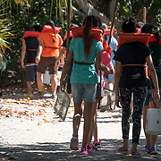 KEY BISCAYNE, FLORIDA, MARCH 22, 2017<br /> 125 fifth grade students from Citrus Grove Elementary School and the American Heritage School  prepare to collect water grass water samples in Crandon Park, Key Biscayne, Florida to test water quality, enter data and learn how they can improve the quality of water in their communities.  Phillipe Cousteau Jr., Co-Founder and President, EarthEcho International, and Miami Waterkeeper and educators from the Nature Center worked on the project together.<br /> (Photo by Angel Valentin/Freelance)