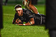 Harrison Keddie of Dragons scores his sides first try<br /> <br /> Photographer Craig Thomas/Replay Images<br /> <br /> Guinness PRO14 Round 7 - Dragons v Zebre - Saturday 30th November 2019 - Rodney Parade - Newport<br /> <br /> World Copyright © Replay Images . All rights reserved. info@replayimages.co.uk - http://replayimages.co.uk