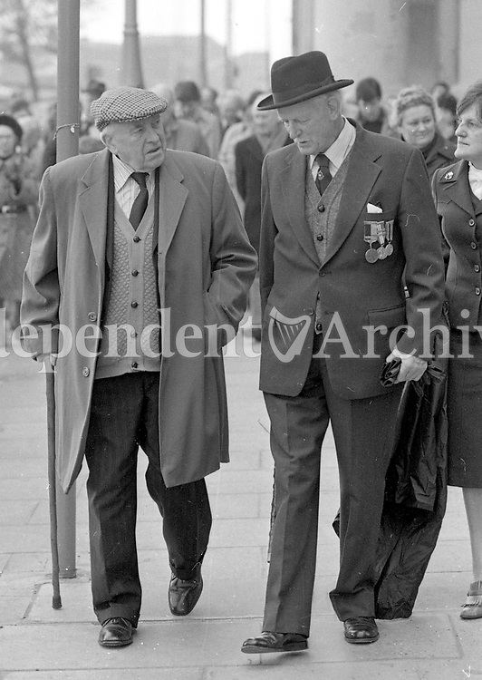 Leading the Walk of Remembrance past the Four Courts in Dublin, were Old-IRA Veteran William Bannon(Left), and General Collins-Powell(Former Chief of Staff) a Nephew of the Late Michael Collins(Commander-in-Chief of the National Army(Freestate)), 13/03/1983 (Part of the Independent Newspapers Ireland/NLI Collection).