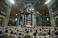 Vatican City apr and 2015, Holy Thursday Chrism Mass in St Peter's Basilica. In the picture pope Francis and all priests bless Chrism