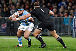 Argentina's Lucas Noguera, left, runs into New Zealand's Joe Moody in the Investic Rugby Championship Test match at Yarrow Stadium, New Plymouth, New Zealand, Saturday, September 09, 2017. Credit:SNPA / Dean Pemberton  **NO ARCHIVING**