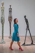 Tall Woman, Standing Woman andWalking Man - the UK's first major retrospective of Alberto Giacometti (1901-1966) for 20 years.<br /> Celebrated as a sculptor, painter and draughtsman, he is famous for his distinctive elongated figures. With the help of Fondation Alberto et Annette Giacometti, Paris, Tate Modern's exhibition brings together over 250 works. Alberto Giacometti is at Tate Modern from 10 May to 10 September 2017