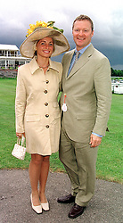 MR & MRS RORY BREMNER, he is the comedian, at a race meeting in Sussex on 4th August 2000.OGO 15